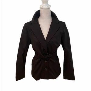 Samuel dong stretch black blazer wrap tie